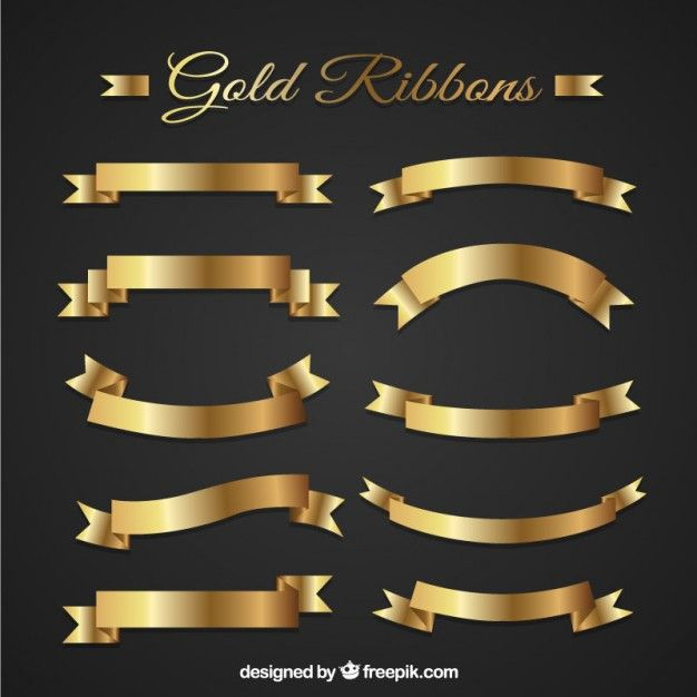 Golden ribbons I Free Vector