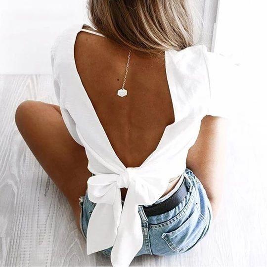 2018 summer fashion women's chiffon shirts sexy deep V-neck Back hollow bowrricdress