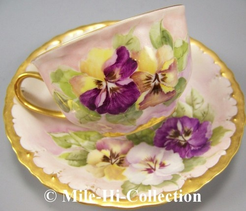 Bavaria Hand Painted Pansy Cup Saucer | eBay Hutschenreuther, Bavaria on cup (ca.1908), Austria mark (ca.1910) on saucer