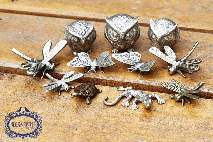 Silver owls, dragonflies, butterflies, gekko and brass turtle. Terrarium accessories. Follow Terrariums by Adele on Facebook.