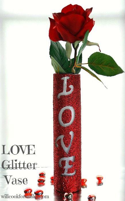 Will Cook For Smiles: LOVE Glitter Vase {Tutorial} | @Lyuba @ Will Cook For Smiles