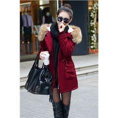 Damen Wintermantel mit Kapuze Jacke Frauen Parka Lang Winterjacke Damenmantel Wine Rot | Berlinmo