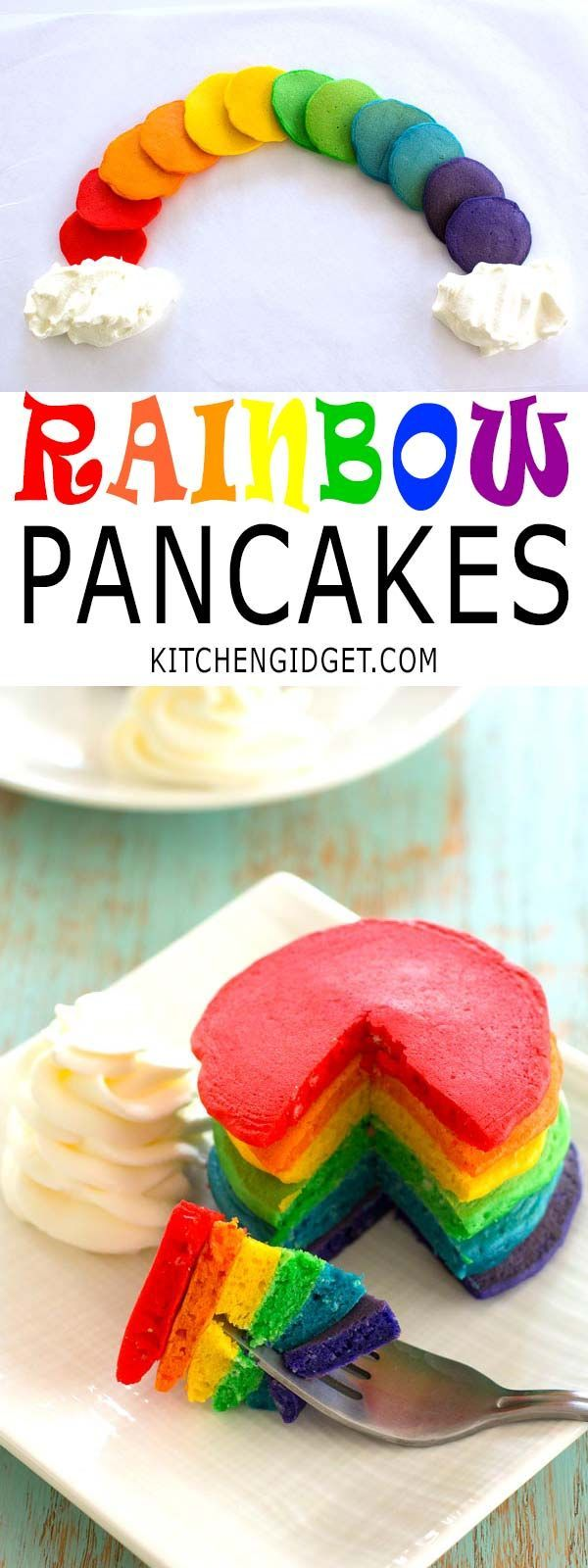 """How to make rainbow pancakes for St. Patrick's Day breakfast! Colored pancakes with fluffy """"clouds"""" of whipped cream are lucky indeed!"""