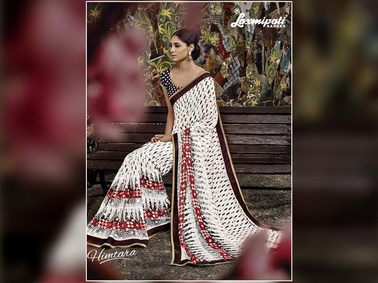 Look and feel like supremacy with this alluring collection of white & black coloured brasso #saree. Go ethnic-chic & add a touch of attraction to your wardrobe. #LaxmiaptiSarees #Shopnow  #couture #style #happiness #womens #HIMTARA0616 #Ethnicwear #Fashion
