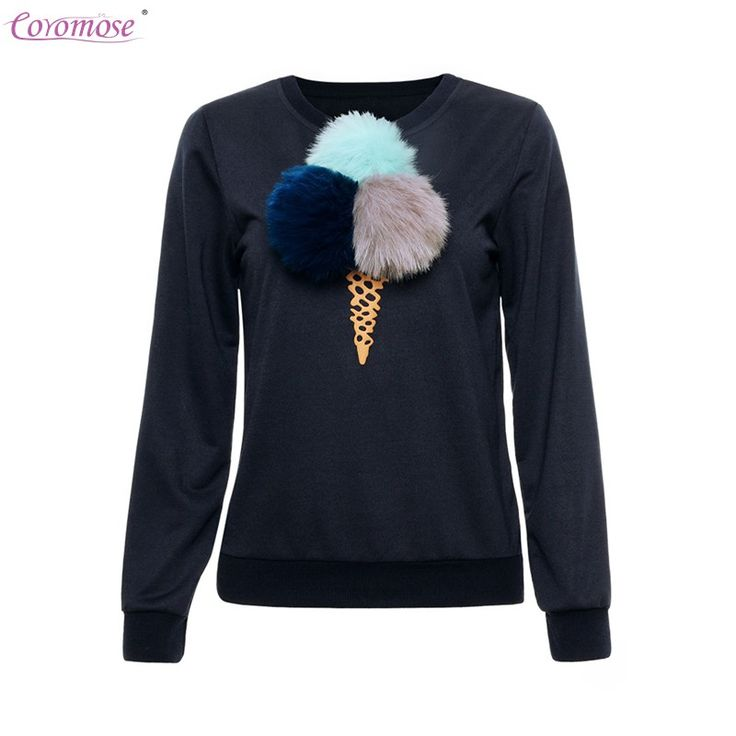 Coromose Women Cute Pompom Ice Cream Printing Long Sleeve Sweatshirt Pullover Tops #Affiliate