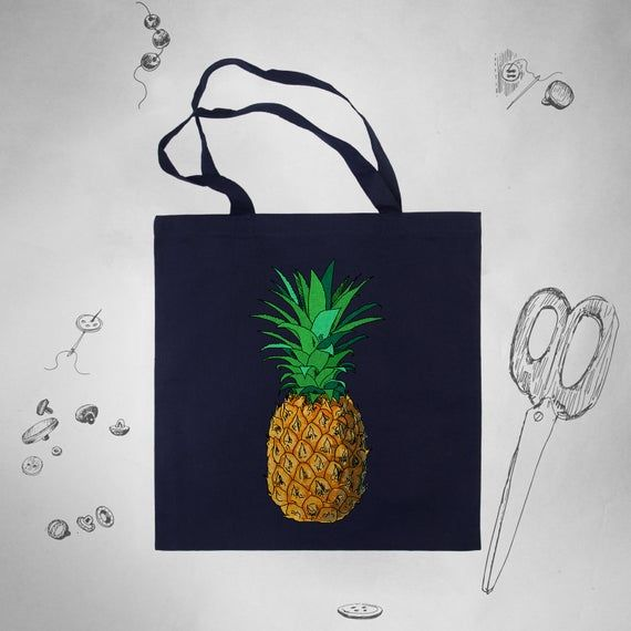 Pineapple Tote Bag for Women Girls Beach Cotton Canvas Tote Bag Eco Friendly Tote Bag Shopping to Sh