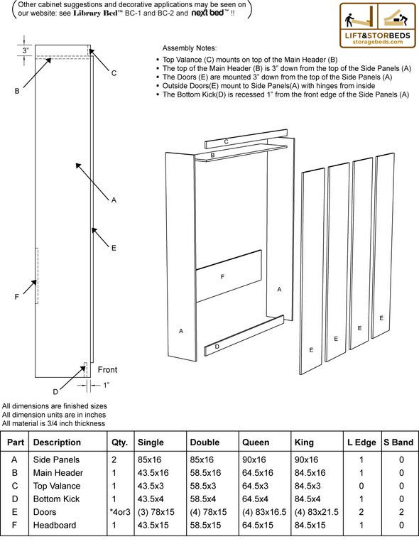 Murphy Bed Cut List