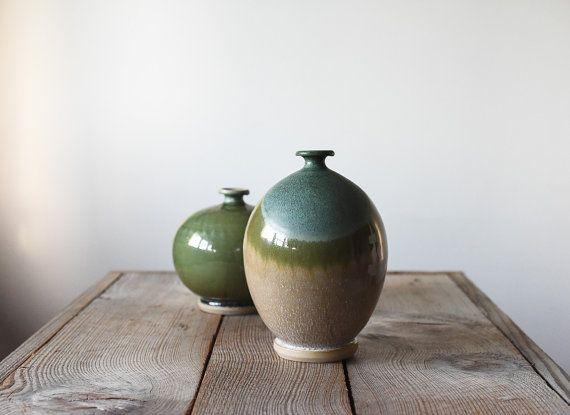 Vintage vaas, Studio aardewerk, Bud vaas, aardewerk vaas, wiel gegooid vaas, handgemaakt vaas, steengoed vaas, Home & Living, Hand gemaakt aardewerk