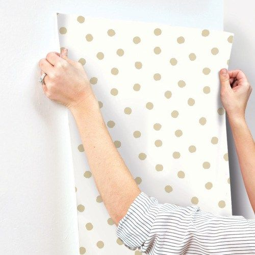 Gold Dot Peel and Stick Wallpaper Single Roll. NUWallpaper by Brewster. Removable, won't damage walls. $44.95 20.5' x 18'.