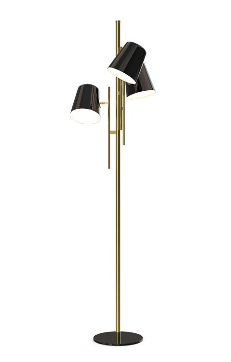 Cole standing lamp is the ideal corner piece for a lobby or a living room. It has a balanced elegance and presence. Made with architectural environments in mind, it is a classic and versatile lighting piece.  This piece is handmade in brass and its lampshades in aluminium.