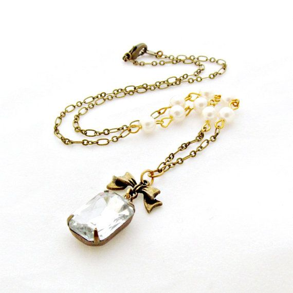 Rhinestone Pearl Necklace Bow Necklace by laurenblythedesigns