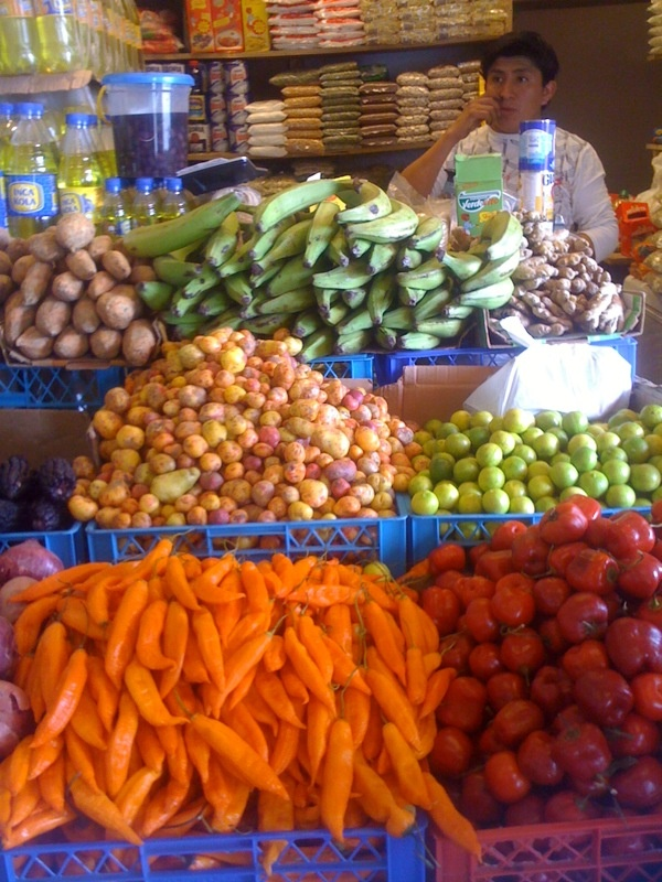 Peruvian food, in chilean market.