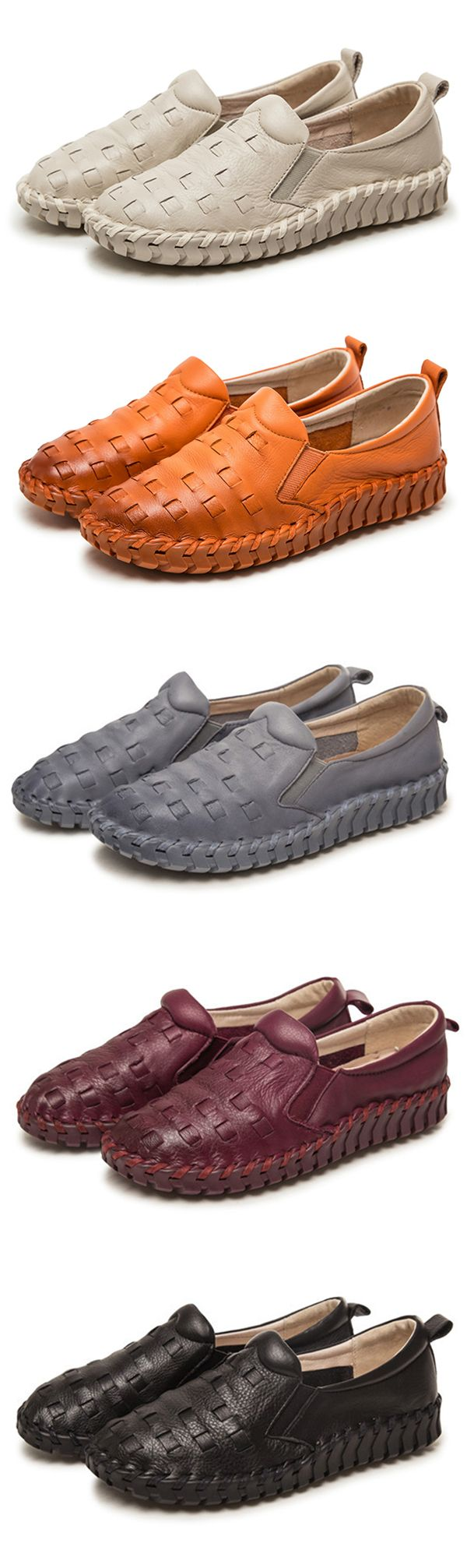 US$45.45  SOCOFY Casual Handmade Leather Stitching Slip On Flat Loafers
