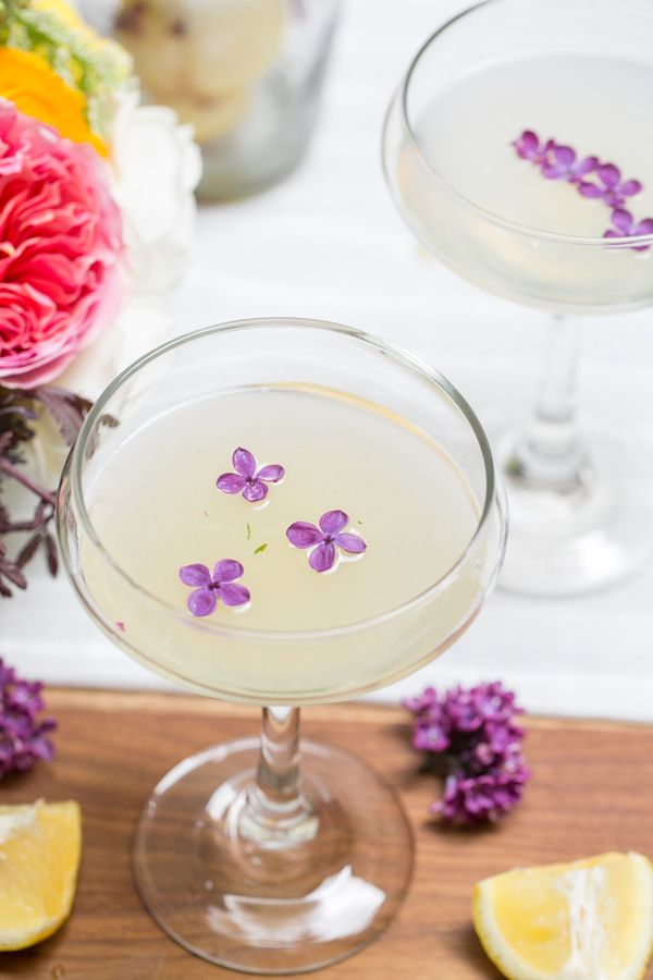 Lilac Pisco Cocktail with Fresh Edible Lilacs, Lemon Juice, Mint and St. Germain!