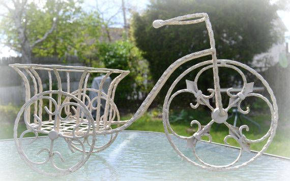 Wire Bicycle with Garden Basket Ivory Chic by MoreFriendsAndCo