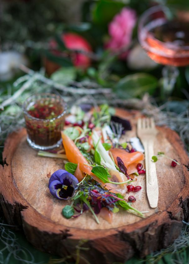 #Salmon & #edible #flower #salad with #MCC #champagne #vinaigrette #foodphotography #foodstyling #styling #photography