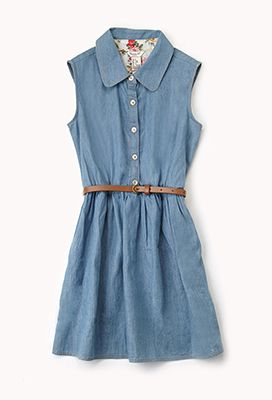 Sleeveless Chambray Shirt Dress for little girls from Forever 21.  These is so cute