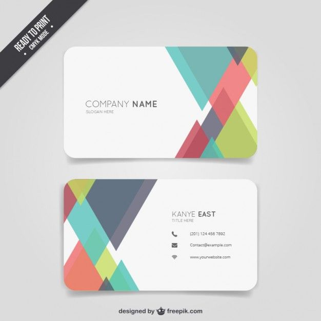 Abstract colour business card Free Vector