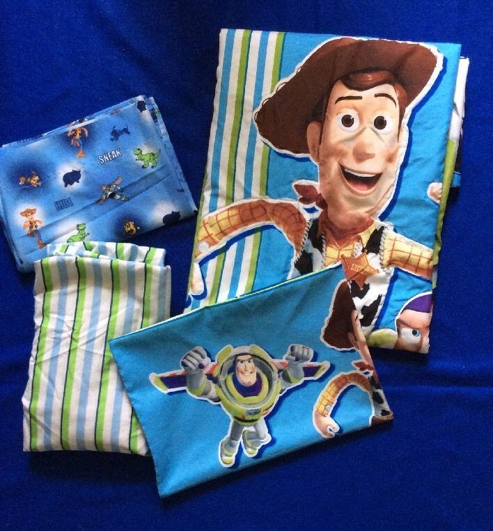 Disney Toy Story Crib Toddler Bed 4 Piece Set Woody Buzz Sheets Comforter #Disney