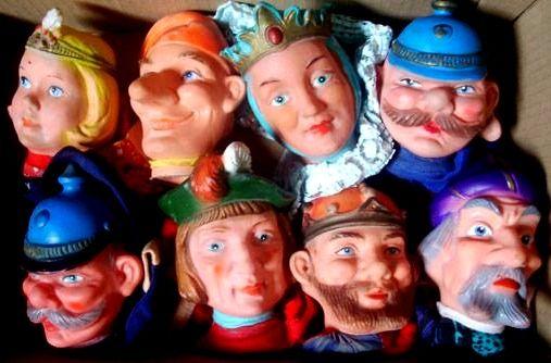 Koningin, prins, koning, enz. poppenkastpoppen 📌, Hand Puppets, Rubber heads. Kasperle Puppen. Queen König Fürst King Prince Sorcerer tovenaar politieman