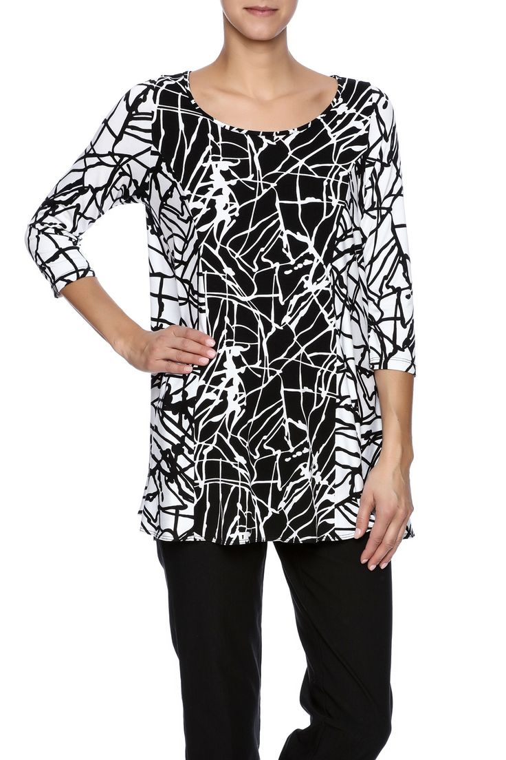 Black and white printed tunic with 3/4 sleeves and a round neckline.  Black And White Tunic by Comfy USA. Clothing - Tops - Tunics Illinois