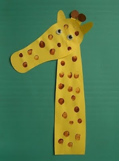 Giraffe crafts-Made with outline of foot, arm/hand, and finger prints. So cute!!
