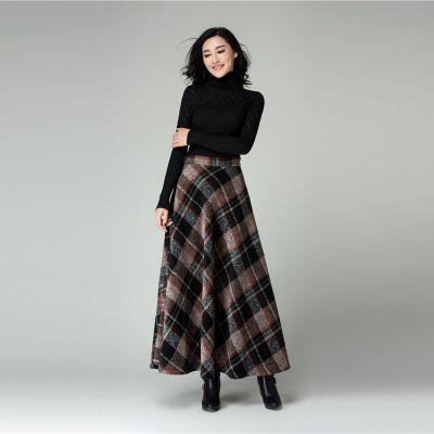 New <b>High quality</b> plaid woolen skirt elegant <b>women's</b> long maxi ...