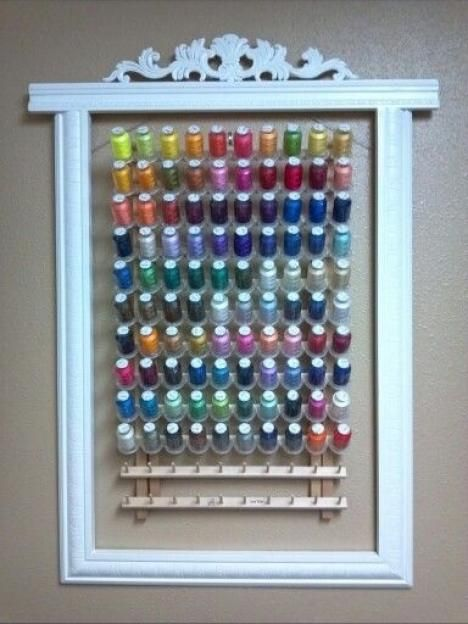 Twenty-Two Outstanding Sewing Room Ideas for Your Space...Really cute idea for organizing thread.