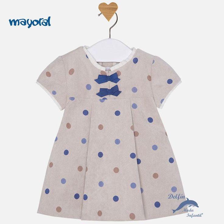 Vestido de bebe MAYORAL NEWBORN de pana lisa con topos azules
