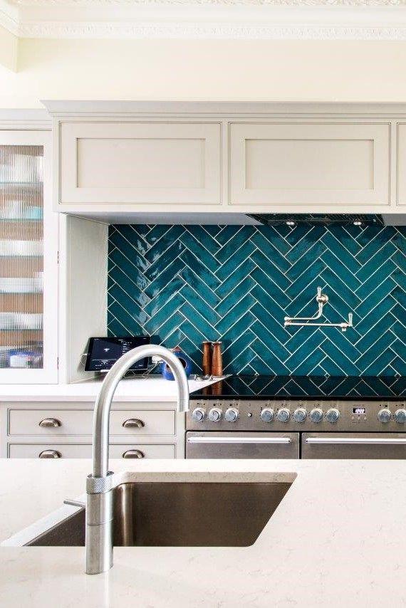 Tiled Splashback Herringbone Tiles Kitchen Kitchen Remodel Turquoise Kitchen Tiles