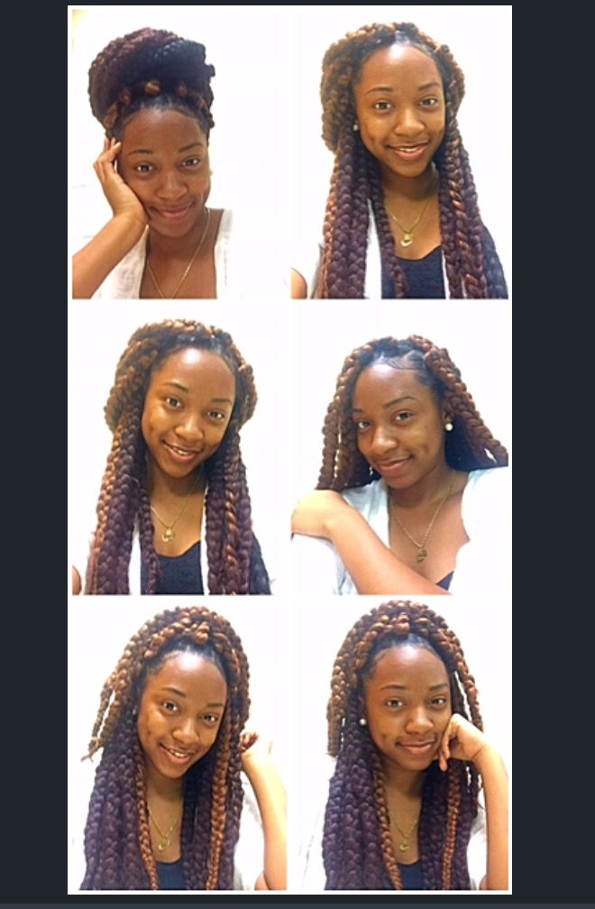 Big plaits I used rubber bands,4  packs of expression hair ...