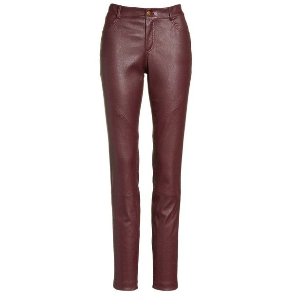 Women's Lafayette 148 New York Mercer Nappa Leather Pants (13.520.910 IDR) ❤ liked on Polyvore featuring pants, red trousers, skinny pants, stretchy pants, stretch trousers and five pocket pants