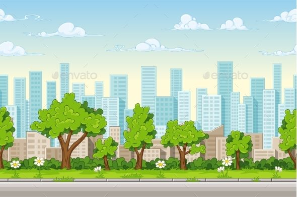 Seamless Cartoon City Background Seni Inspirasi Lukisan Kartun