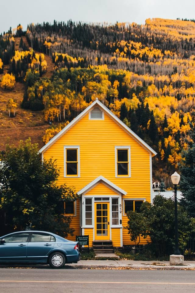 House in the autumn mountains