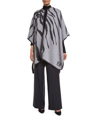 Tems+Wide-Leg+Flannel+Pants,+Cape+&+Sweater+by+Escada+at+Neiman+Marcus.