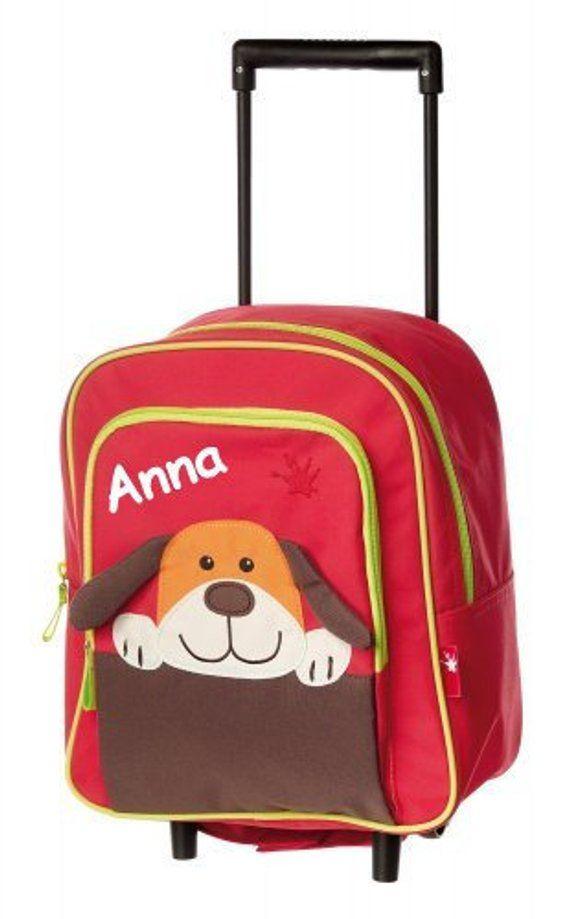 Kinderkoffer Mini Trolley Hund Mit Namen Bestickt Mit Dem