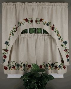 Crewel Curtains, Discount Crewel Tier & Swag - Close Outs - All