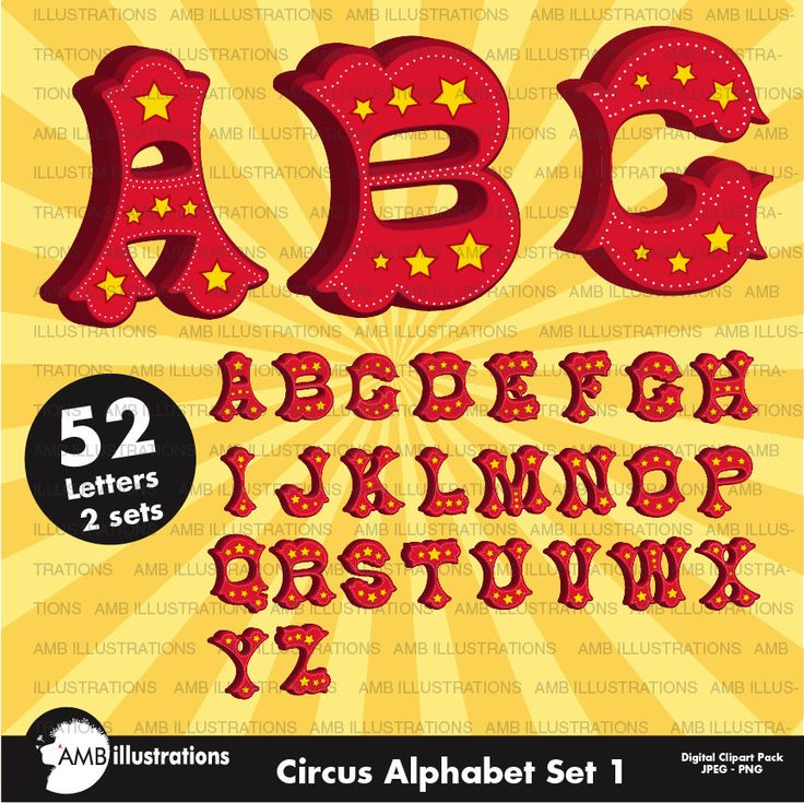 80%OFF Circus alphabet Circus letters with stars circus fonts clipart commercial use digital clipart instant download AMB-1161