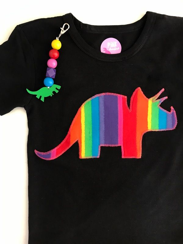 Rainbow dinosaur shirt with matching rainbow bag tag. Trex and triceratops rainbow perfection!