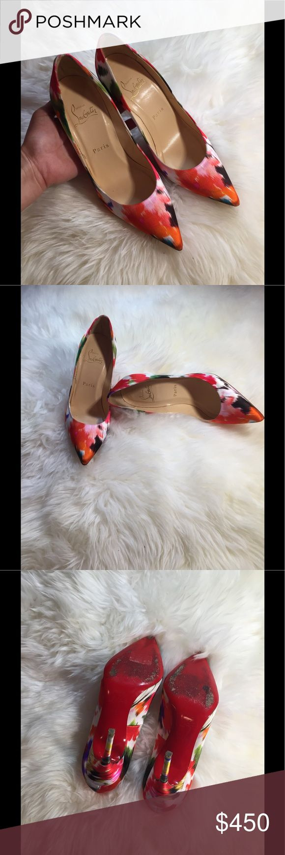 Authentic Christian Louboutin floral pumps Used in great condition.No box ,no dust bag.Super cute floral print pumps.Women size 361/2.I think these do fit small and better to fit 35-35.5.Please know your own CL size.Price is firm. Christian Louboutin Shoes Heels