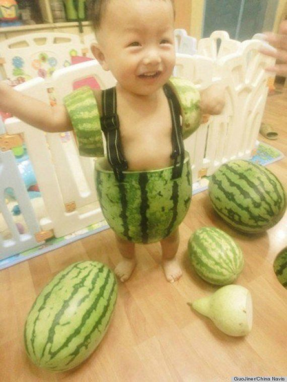 How cute is this baby wearing watermelon shorts?!