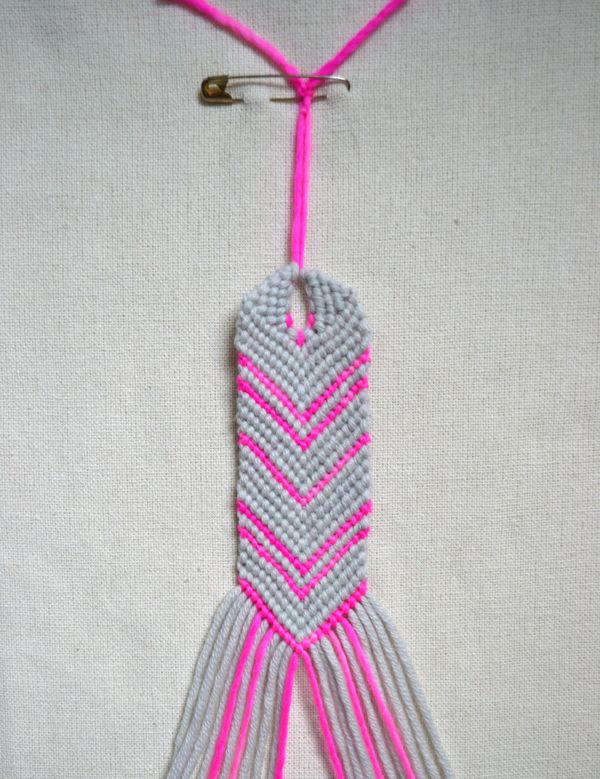 I made 1 in dark & light blue for my nephew. diy friendship bracelet loop this is from purlbee.com oh my goodness they listed all the instructions and pictures too boot! Really like the site! She used regular yarn  not thread.