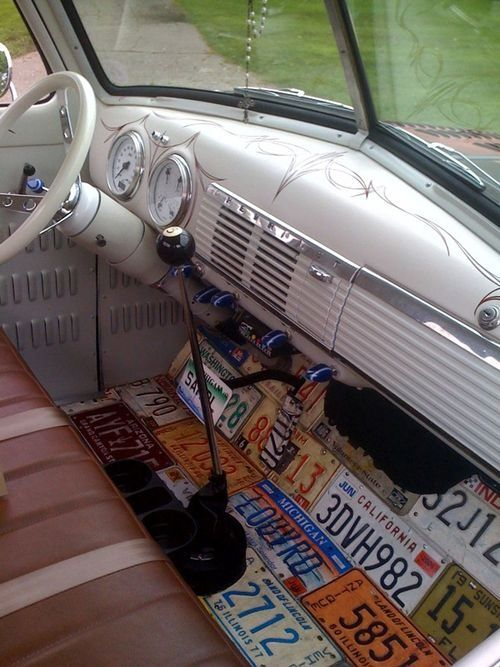 Cool idea on the floor for vw bus license plates rat - How to decorate your car interior ...