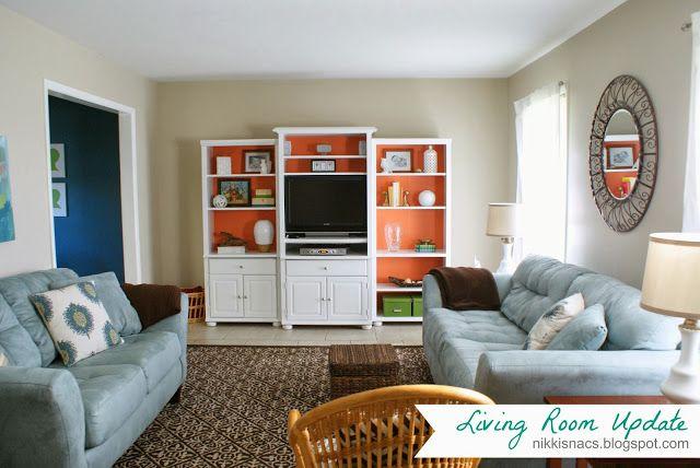 Coral, Blue, Brown - Living Room