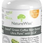 Nature Wise Svetol Green Coffee Bean Extract Ultra Pure with GCA Natural Weight Loss  How Does It Work?  The slimming effects of green coffee extract have nothing to do with caffeine. Green coffee extract only has 20mg of caffeine per serving, whereas an 8oz cup of coffee has approximately 180mg of caffeine per serving. The key ingredient for weight loss is called chlorogenic acid. Chlorogenic acid has been clinically proven to slow the release of sugar into the bloodstream ...