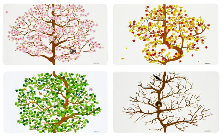 4-SEASONS PLACEMATS, set of 4 placemats. Graphic design: Merel Maltha