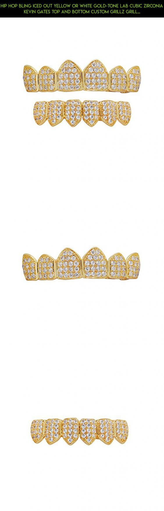 Hip Hop Bling Iced Out Yellow or White Gold-Tone Lab Cubic Zirconia Kevin Gates Top and Bottom Custom Grillz Grill with Mold Bar (yellow-gold-tone) #grills #kit #gadgets #diamond #tech #fpv #teeth #shopping #technology #racing #camera #plans #drone #parts #products