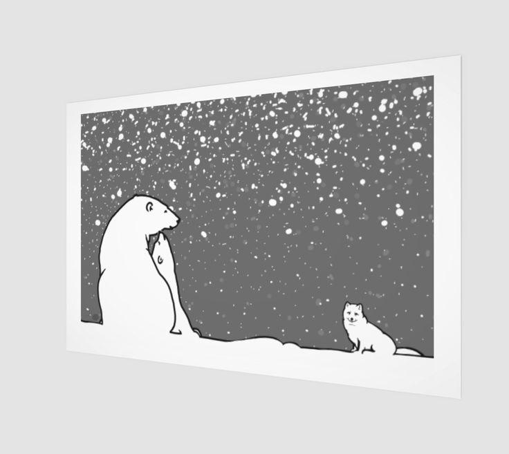 polar bear family and arctic fox dark grey version preview