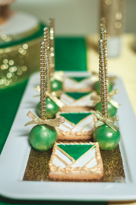 green and gold desserts