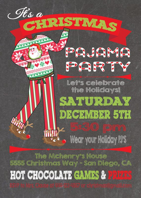 Chalkboard Christmas Pajama Party Invitations by McBooboos on Etsy …